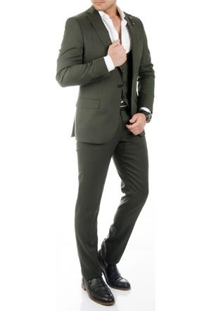DeepSEA Haki İtalyan Kesim Likralı Zincir Aksesuarlı Yelekli Erkek Takım Elbise 1710383-023