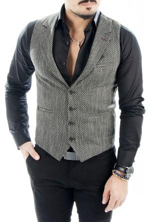 DeepSEA Siyah-Beyaz Çift Renkli İplik Örgülü Desenli Erkek Cepken 1602036-027