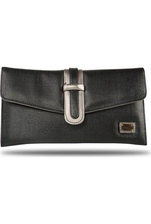Silver Polo Siyah Gümüş Clutch Çanta