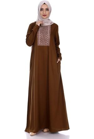 Modaateşi Roba Baskılı Elbise 2240 Taba