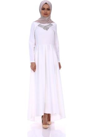 Modaateşi Kolyeli Pileli Elbise 5105 Beyaz