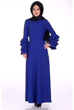 Modaateşi Kolları Fırfırlı Elbise 5548 Saks