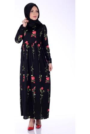 Modaateşi Robalı Çiçek Detaylı Elbise 2058 Siyah