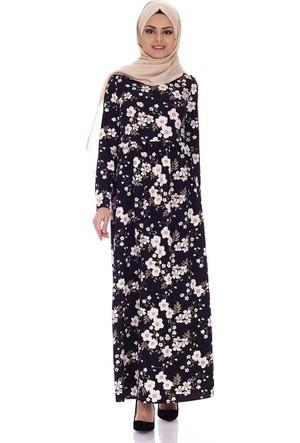 Modaateşi Robalı Çiçek Detaylı Elbise 2058 Pudra