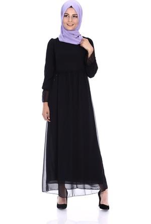 Modaateşi Büzgülü Elbise 2093 Siyah