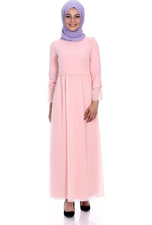 Modaateşi Büzgülü Elbise 2093 Pudra