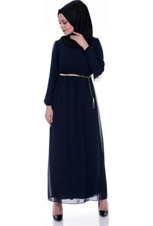 Modaateşi Kemerli Büzgülü Elbise 3004 Lacivert
