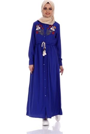 Modaateşi Bel Büzgülü Nakışlı Elbise 0028 Saks