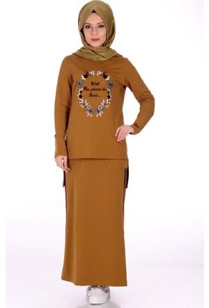 Modaateşi Nakışlı Etek Bluz Takım 1272 Hardal