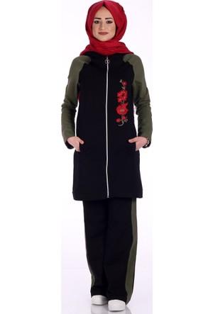 Modaateşi Nakışlı Kap Pantolon Takım 1273 Siyah