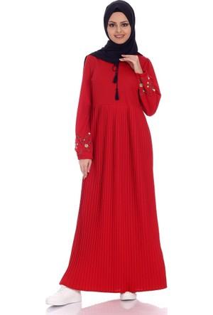 Modaateşi Piliseli Nakışlı Elbise 1342 Kırmızı