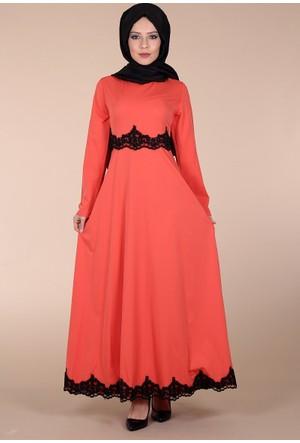 Modaateşi Dantelli Abiye Elbise 0127 Narçiçeği