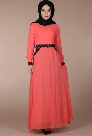 Modaateşi Güpürlü Abiye Elbise 0129 Narçiçeği