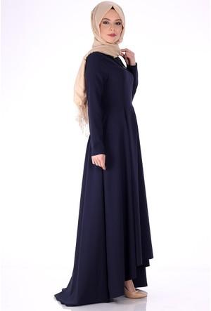 Modaateşi Pile Detaylı Kolyeli Abiye Elbise 0206 Lacivert