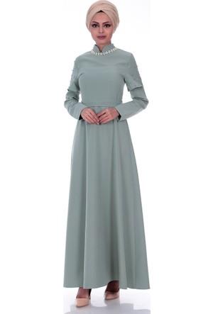 Modaateşi Yakası Taş Detaylı Abiye Elbise 0242 Su Yeşili