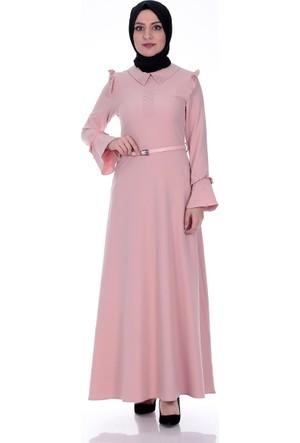 Modaateşi İnci Detay Elbise 0275 Pudra
