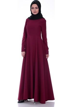 Modaateşi Kolu İşli Abiye Elbise 0299 Bordo