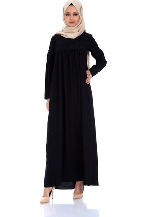 Modaateşi Robalı Güpürlü Elbise Siyah