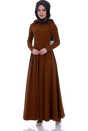 Modaateşi Omuz Detaylı Pileli Elbise 6102 Taba