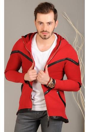 Modaateşi Zigzag Desenli Kırmızı Ceket