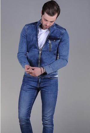 Modaateşi Tek Fermuarl Detaylı Kot Ceket Açık Mavi