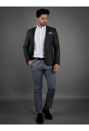 Brango 30026-6 Dokuma Çift Yırtmaç Siyah Spor Ceket