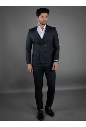 Brango 35018-6 Kruvaze Çift Yırtmaç Lacivert Takım Elbise