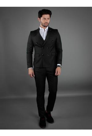 Brango 35018-9 Kruvaze Çift Yırtmaç Siyah Takım Elbise