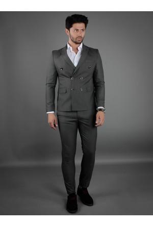 Brango 35018-15 Kruvaze Çift Yırtmaç Gri Takım Elbise