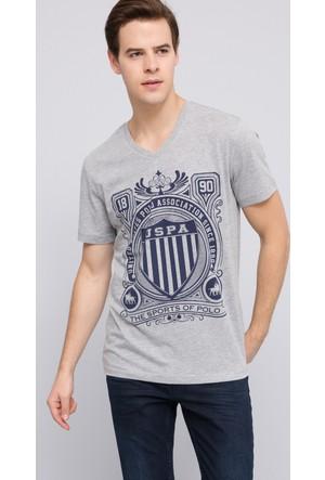 U.S. Polo Assn. Erkek Empire V Yaka T-Shirt Gri Melanj