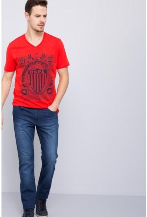 U.S. Polo Assn. Erkek Empire V Yaka T-Shirt Kırmızı