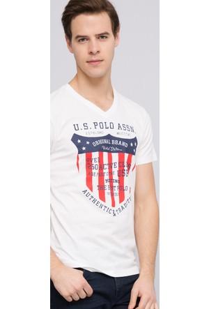 U.S. Polo Assn. Erkek Nova V Yaka T-Shirt Bej