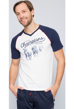 U.S. Polo Assn. Erkek Quin V Yaka T-Shirt Bej