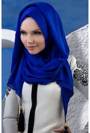 Muslima Wear Püsküllü Şal 34001 Saks Mavisi