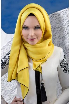 Muslima Wear Püsküllü Şal 34001 Sarı