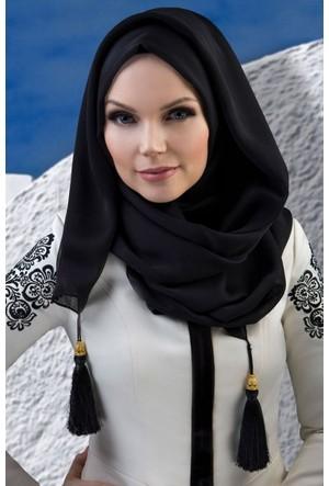 Muslima Wear Püsküllü Şal 34001 Siyah
