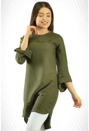 Modamla Kol Volanlı Ön Katlamalı Tunik