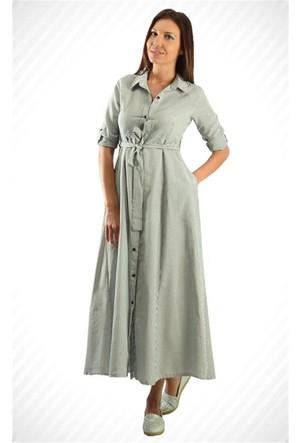 Modamla Boydan Düğmeli Çizgili Elbise