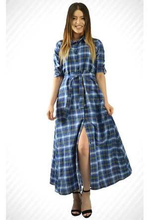 Modamla Ekose Kol Katlamalı Elbise