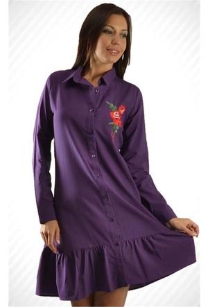 Modamla Gül Nakışlı Eteği Büzgülü Tunik