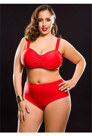 Angelsin Kırmızı Yüksek Bel Büyük Beden Bikini