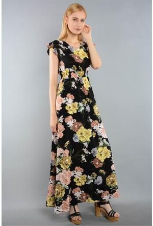 Rodin Hills Sarı Bayan Dokuma Elbise 6294