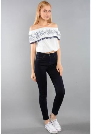 Rodin Hills Lacivert Bayan Yüksek Bel Kot Pantolon 315