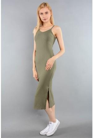 Rodin Hills Haki Bayan İp Askılı Fitilli Elbise 100969