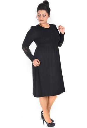 Plus Siyah Dantel Detaylı Elbise 54-56