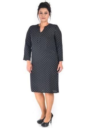 Plus Siyah Önü Y Patlı Elbise 50-52