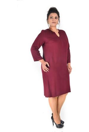 Plus Bordo Önü Y Patlı Elbise 54-56