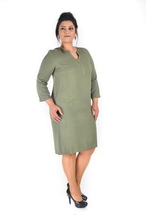 Plus Haki Önü Y Patlı Elbise 54-56