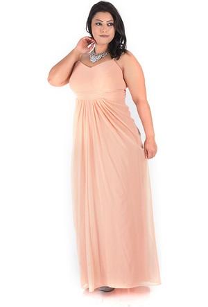 Plus Pudra Drapeli Abiye Elbise 54-56