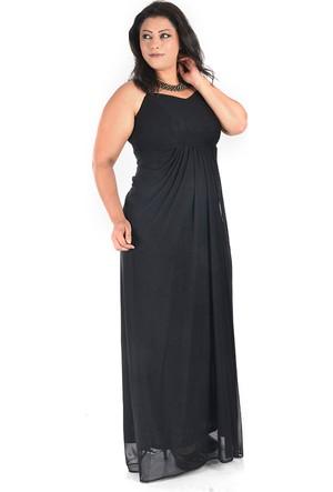 Plus Siyah Drapeli Abiye Elbise 54-56